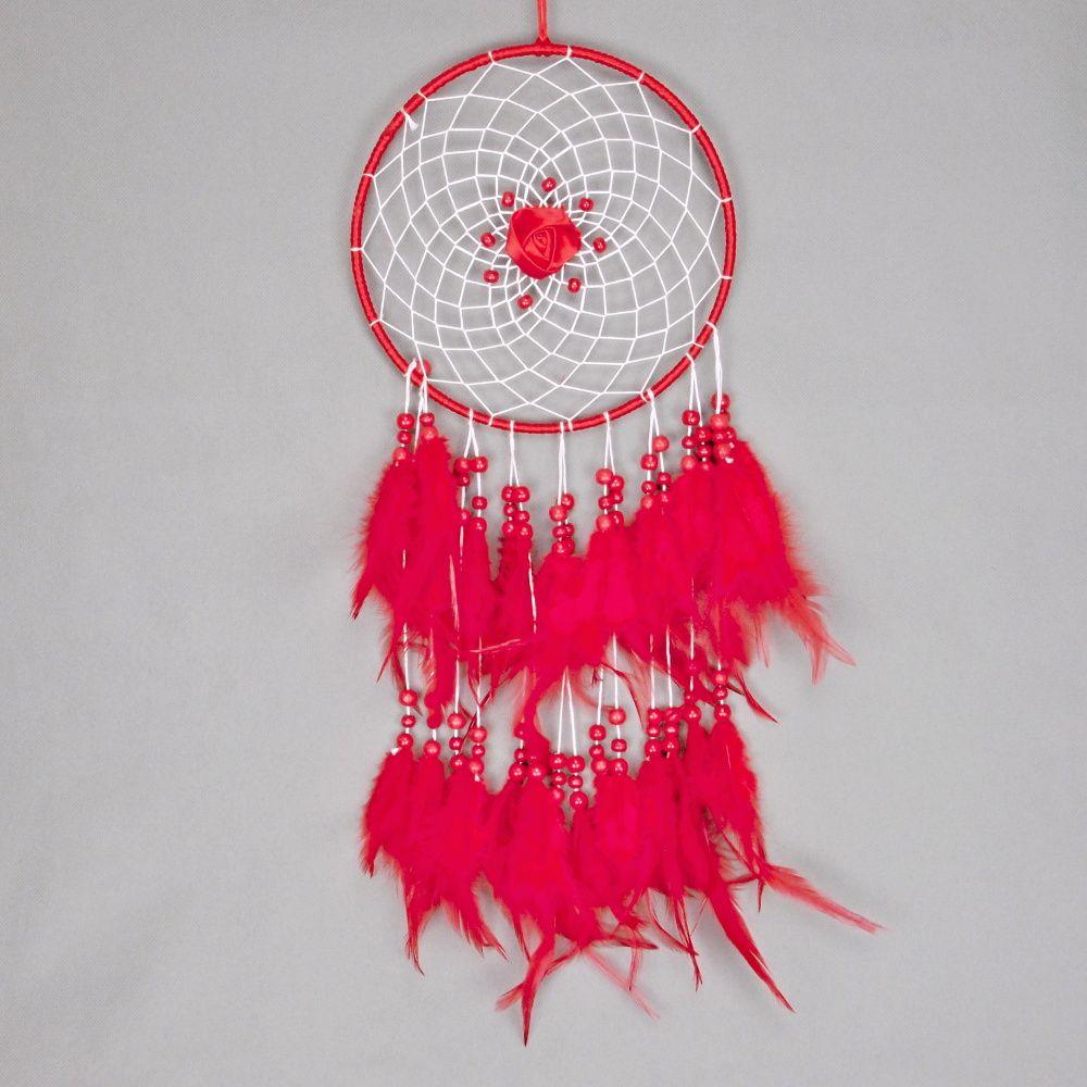 Lapač zlých snů 20 cm červený s růží