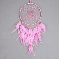 Lapač snů 20 cm růžový s korálky