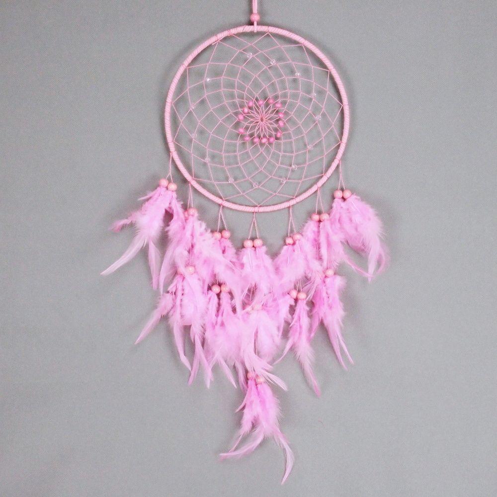 Lapač zlých snů 20 cm růžový s korálky