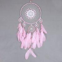 Lapač snů 25 cm růžový s krajkou