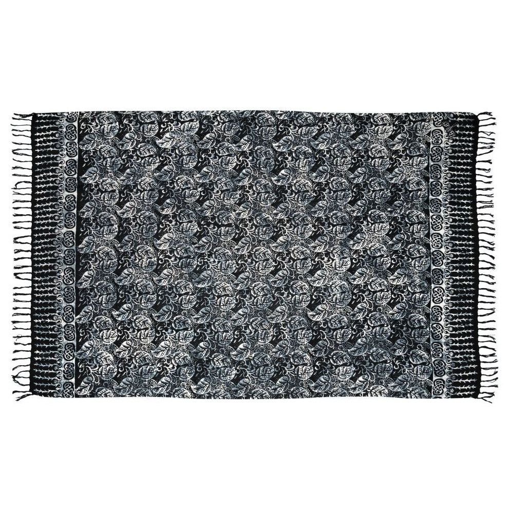Plážový šátek sarong, pareo Floral paisley černo-bílý