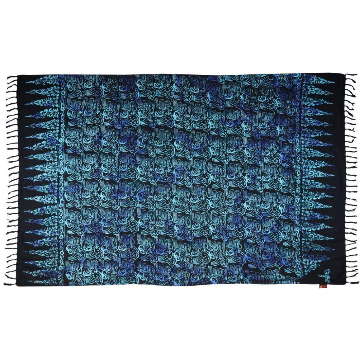 Plážový šátek sarong, pareo Korál černo-modrý