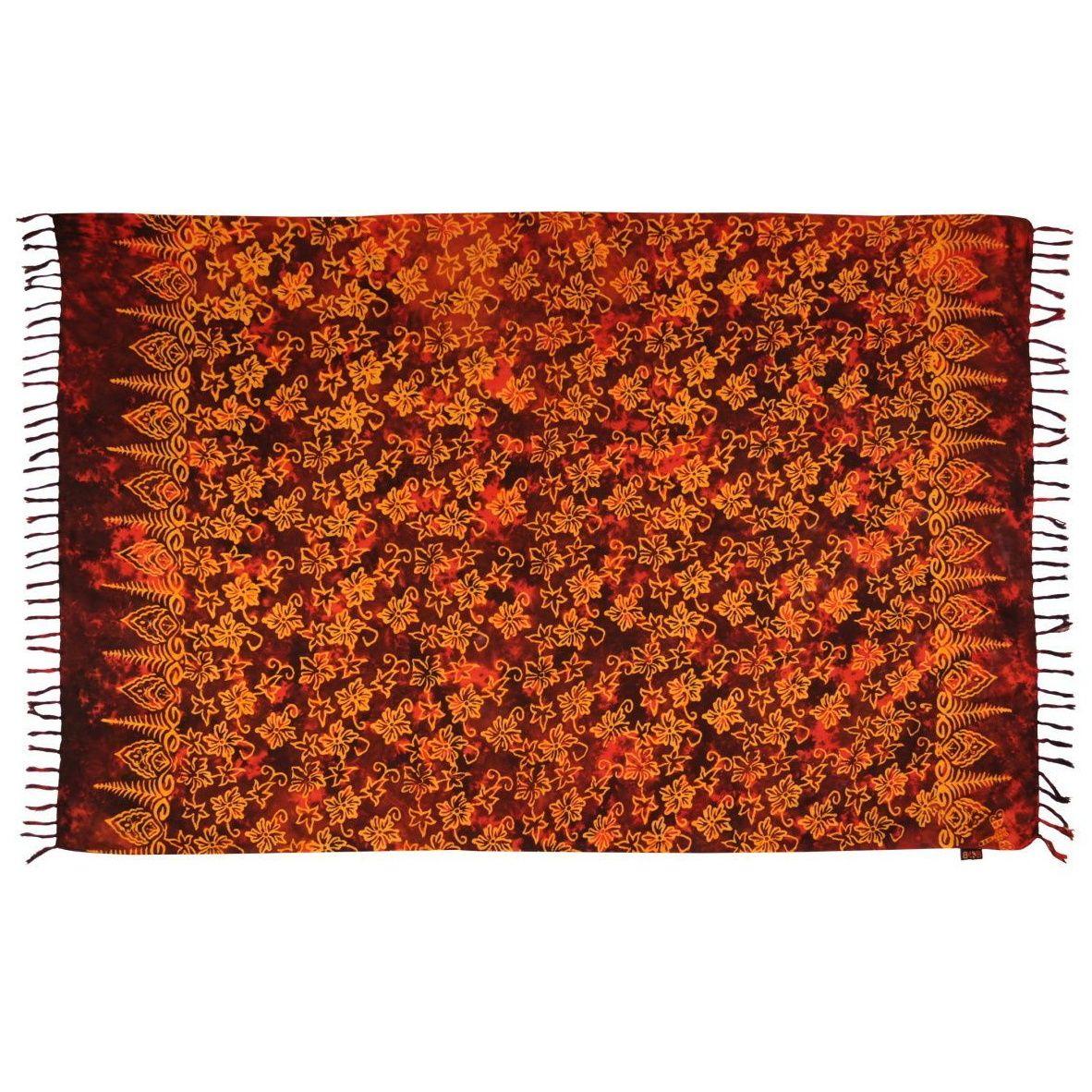 Plážový šátek sarong, pareo Květy červený