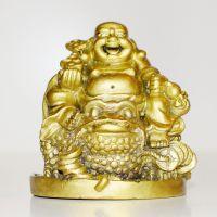 Soška Hotei smějící se buddha resin 07 cm na žábě hojnosti