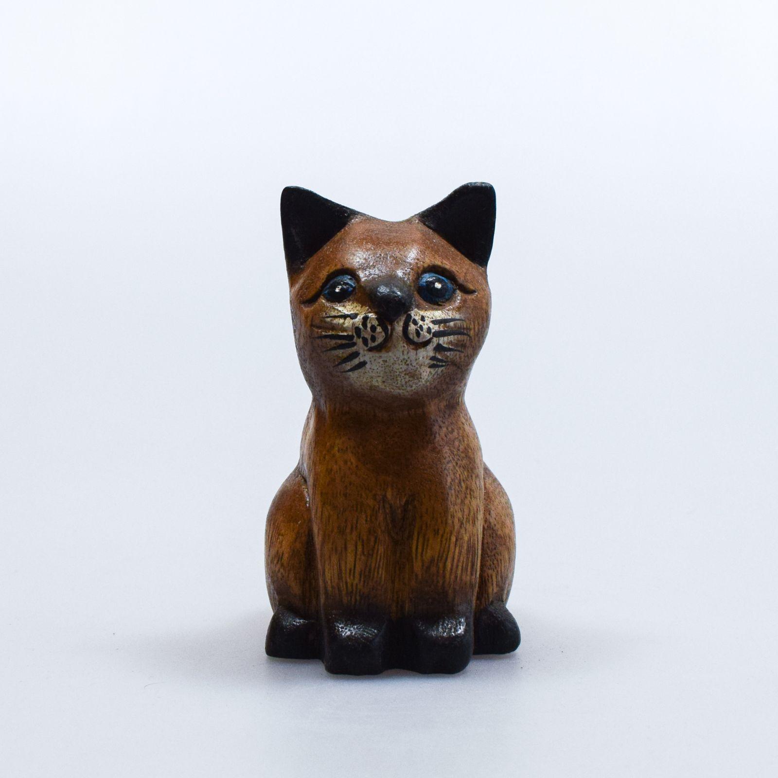 Soška Kočka dřevo sedící 11 cm