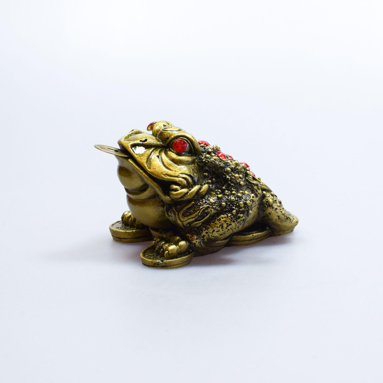 Soška Žába resin třínohá s mincí 8 cm