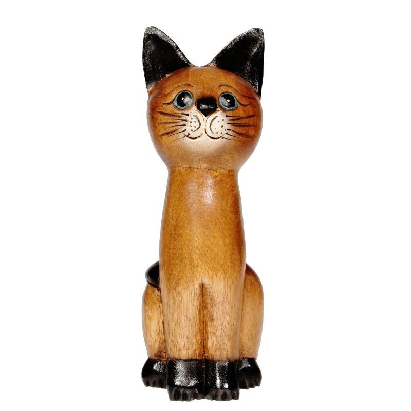 Soška Kočka dřevo kuželka 25 cm