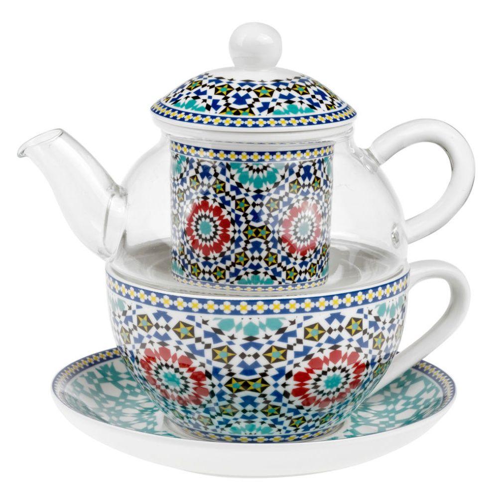 Čajová souprava Maroko 0,32 l tea for one porcelán a sklo