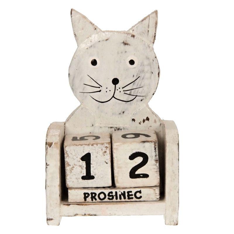 Kalendář dřevěný Kočka 11 cm bílá
