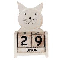 Kalendář Kočka 16 cm bílá