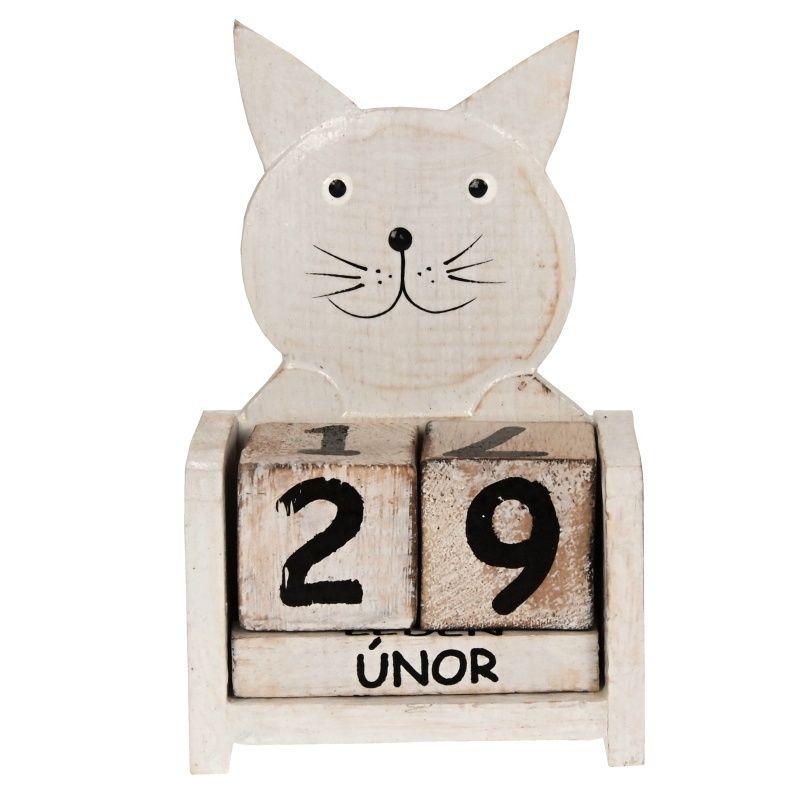 Kalendář dřevěný Kočka 16 cm bílá