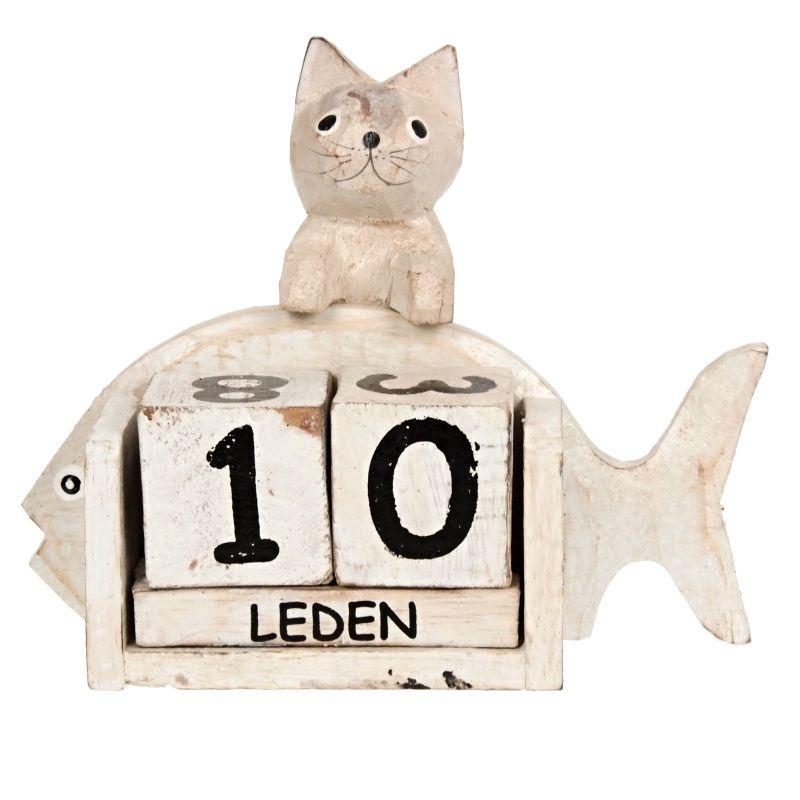 Kalendář dřevěný Kočka s rybou 14 cm