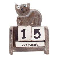 Kalendář Kočka ležící 10 cm šedá