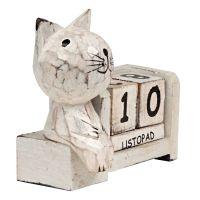 Kalendář dřevěný Kočka soška 9 cm bílá