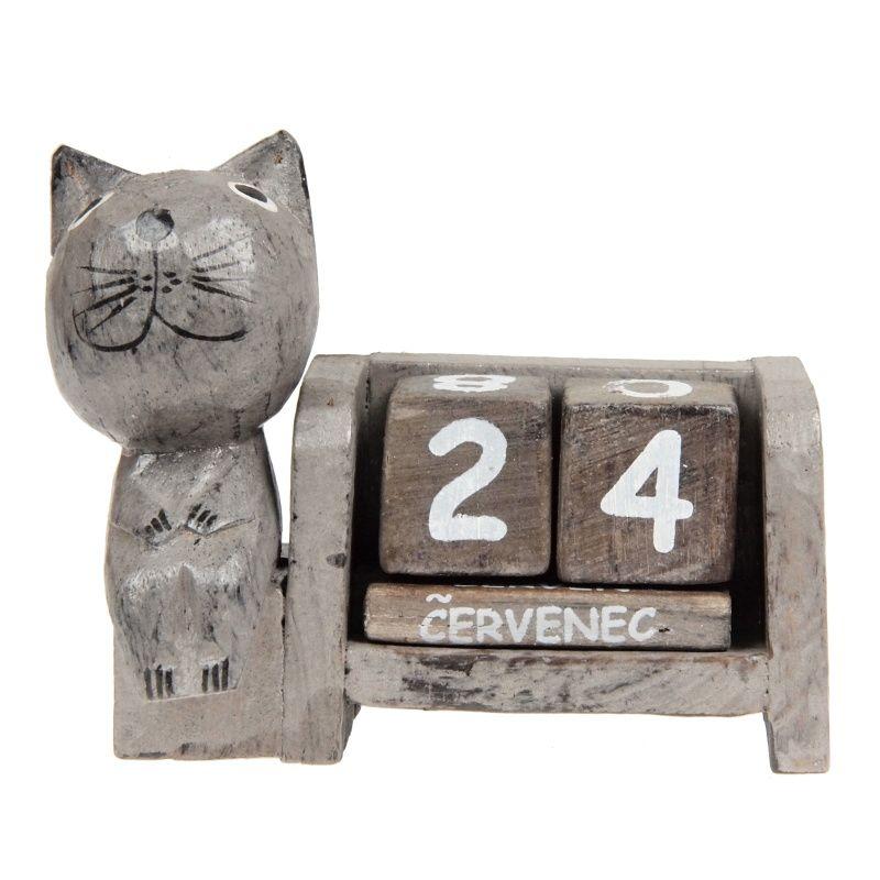 Kalendář dřevěný Kočka soška 9 cm šedá