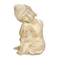 Soška Buddha zahradní beton 17 cm bílá