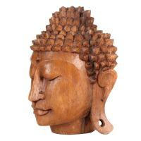 Soška Buddhova hlava dřevo 15 cm