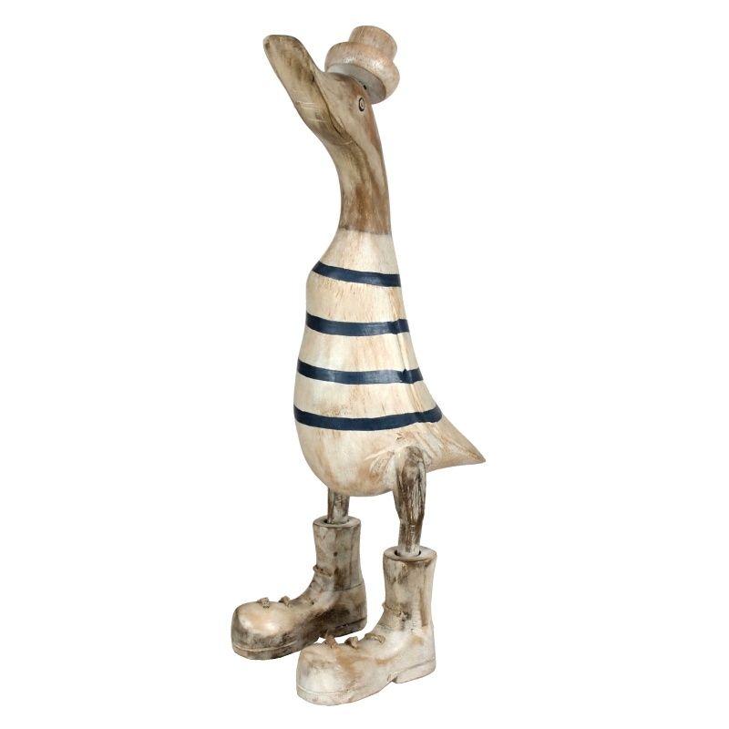 Soška Kachna dřevo 35 cm bílá