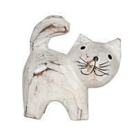 Soška Kočka dřevo 08,5 cm bílá