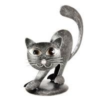 Soška Kočka kov nahrbená 15 cm