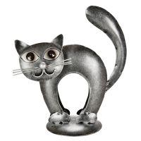 Soška Kočka kov nahrbená 17 cm