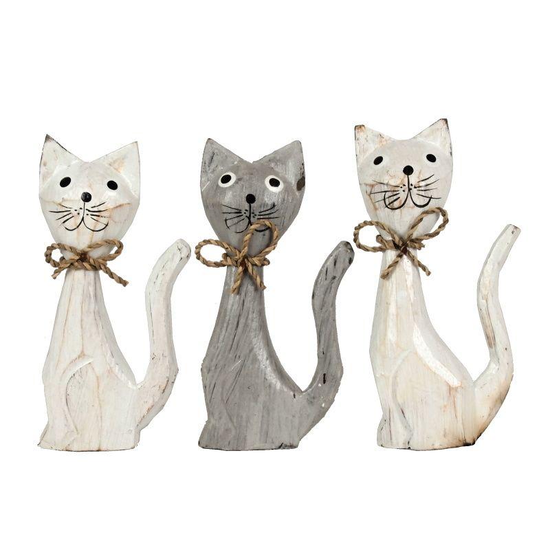 Soška Kočky dřevo 15 cm sada 3 ks