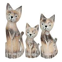 Soška Kočky dřevo 30 cm sada 3 ks