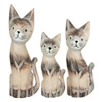 Soška Kočky dřevo 35 cm sada 3 ks