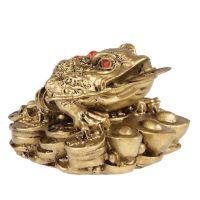 Soška Žába resin třínohá s mincí 05 cm