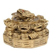 Soška Žába resin třínohá s mincí 08 cm pakua