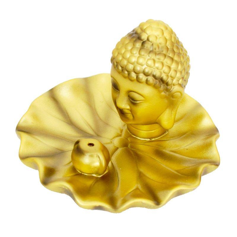 Stojánek na vonné tyčinky keramický Buddhova hlava zlatý