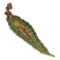 Stojánek na vonné tyčinky kov list Óm zelený