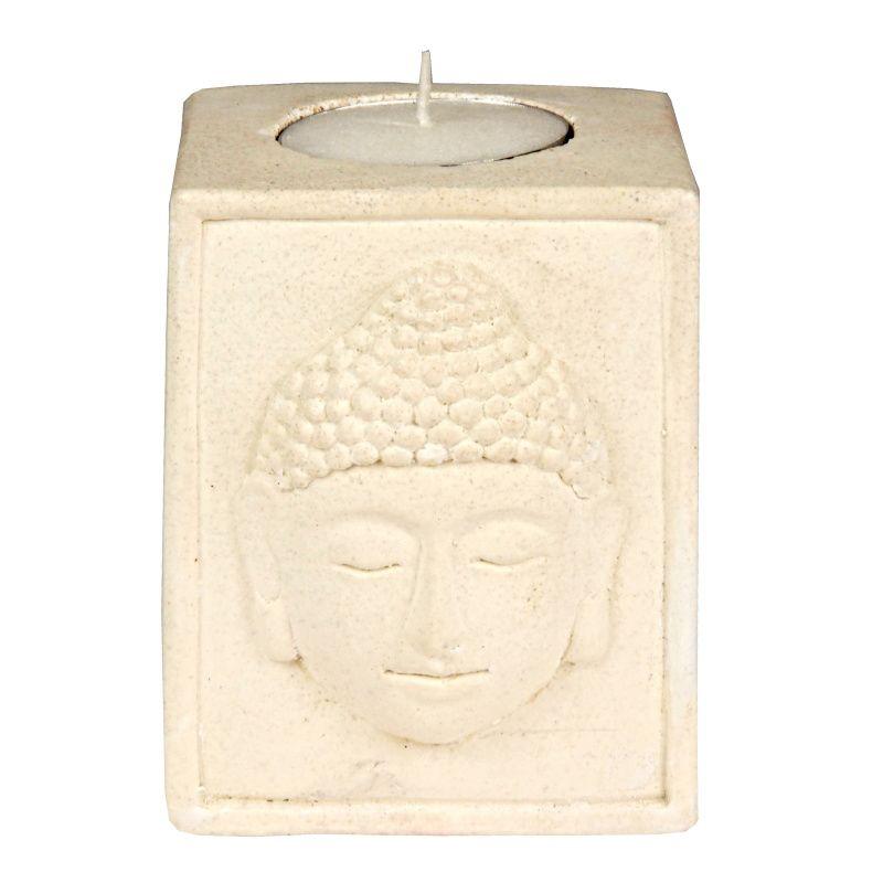Svícen na čajovou svíčku resin Buddha bílý
