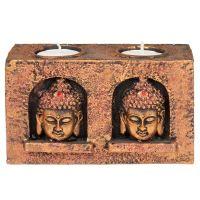 Svícen na čajocé svíčky resin Buddha měděný