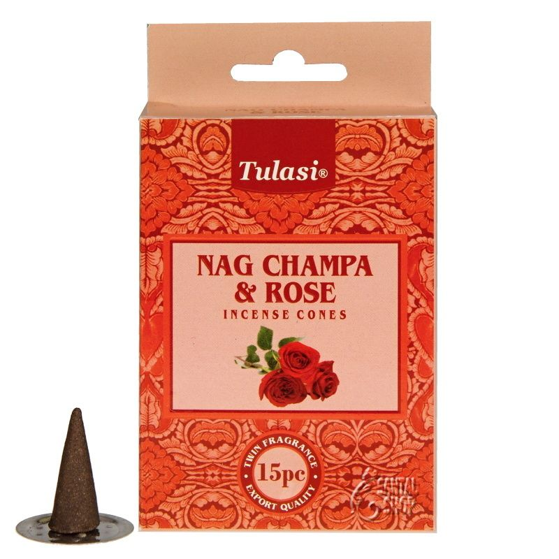 Tulasi Nag Champa Rose indické vonné františky 15 ks