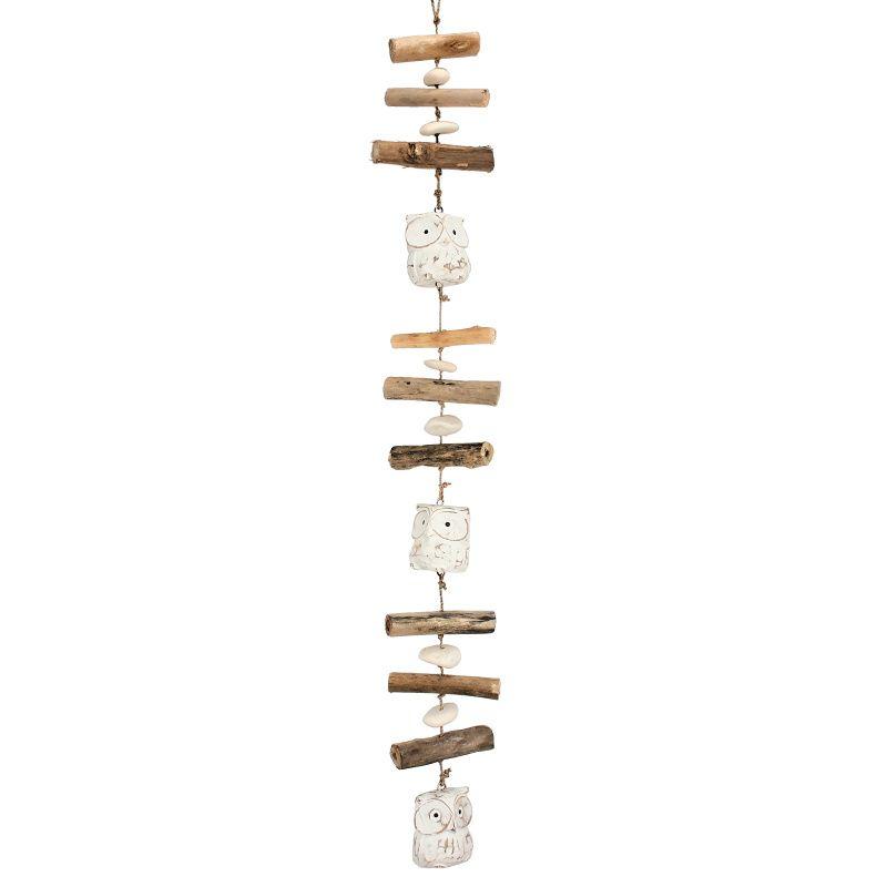Závěsná dekorace dřevěná Sova 95 cm bílá