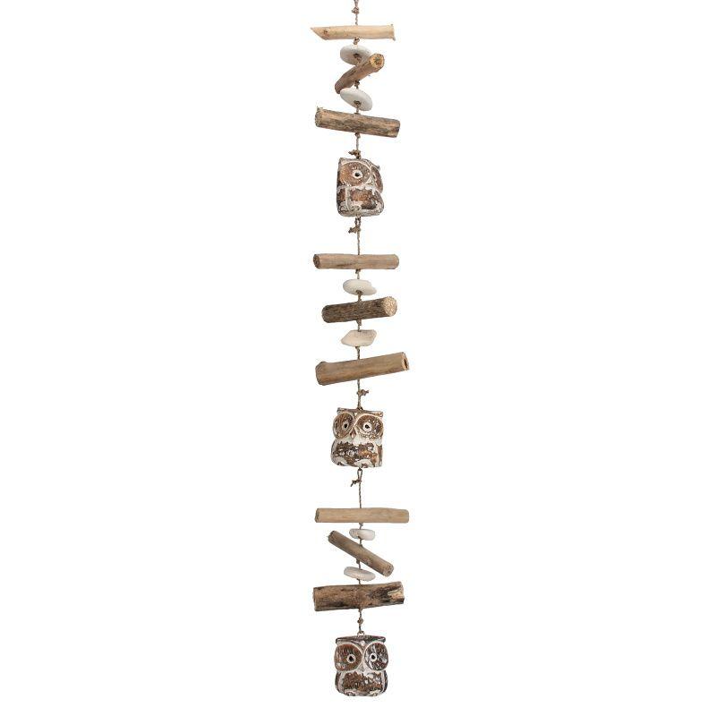 Závěsná dekorace dřevěná Sova 95 cm hnědá