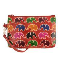 Dámská kožená kabelka s poutkem Sloni červená 17 x 11 cm