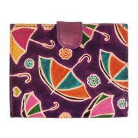 Dámská kožená peněženka Miss Deštníky fialová 12 x 10 cm