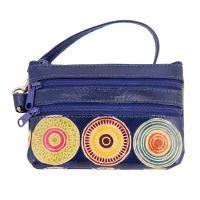 Kožená peněženka s poutkem Květy modrá