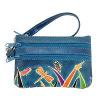 Kožená peněženka s poutkem Savana modrá