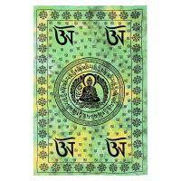 Indický přehoz na postel Buddha zelený 210 x 140 cm