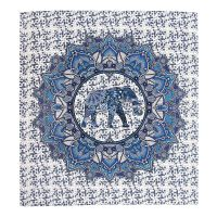 Přehoz Elephant Flower modrý 220 x 210 cm