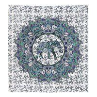 Přehoz Elephant Flower zelený 220 x 210 cm
