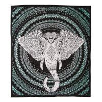 Přehoz Ethno Elephant zelený 220 x 210 cm