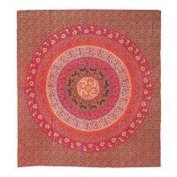 Přehoz Flower Mandala červený 220 x 210 cm