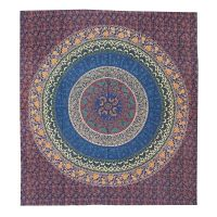 Přehoz Flower Mandala modrý 220 x 210 cm