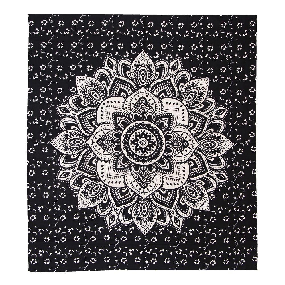 Indický přehoz na postel Lotus Dream černý 220 x 210 cm