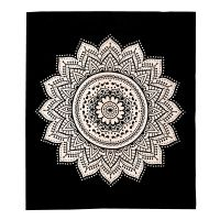 Indický přehoz na postel Lotus Flower černý 220 x 210 cm