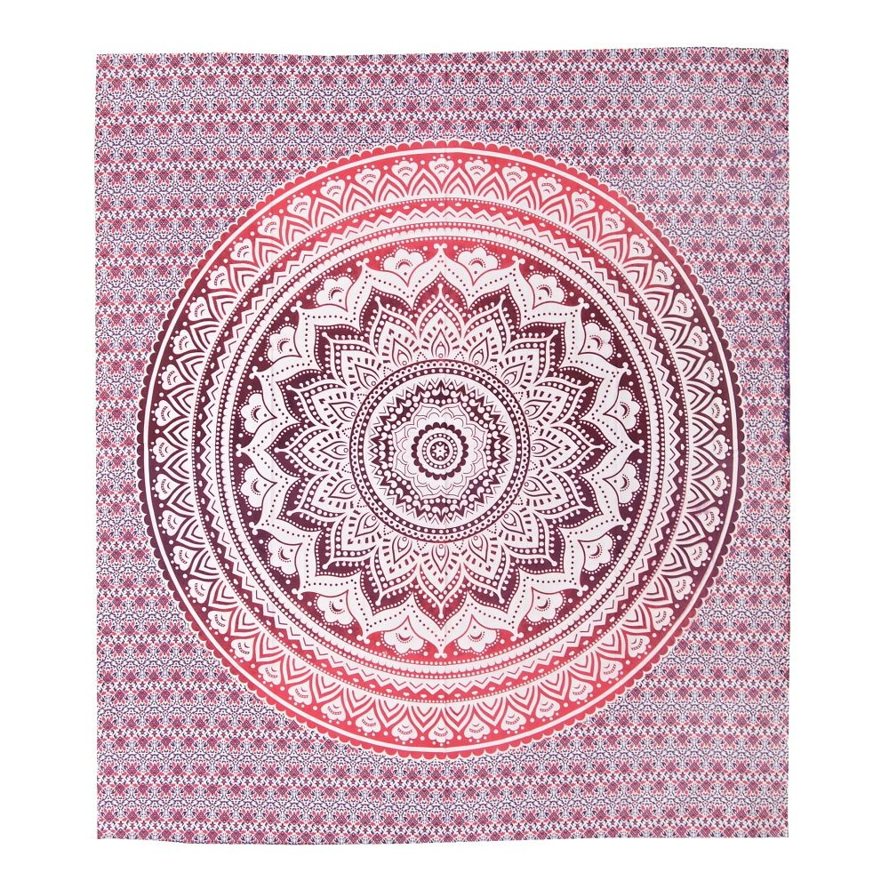 Indický přehoz na postel Lotus Mandala červený 220 x 210 cm